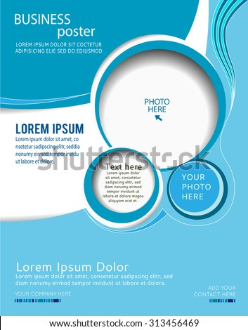 Stylish presentation of business poster, magazine cover, design layout template, blue abstract background