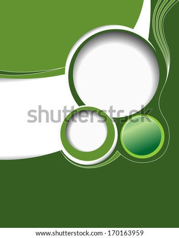 Stylish presentation of business poster, magazine cover, design layout template, green abstract background