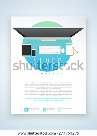 Stylish professional flyer, template or brochure design for technology concept. - stock vector