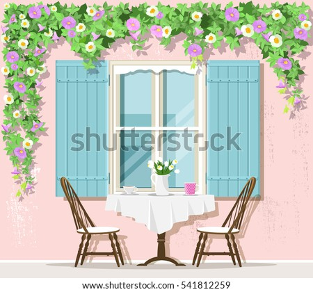Stylish Provence street cafe exterior: window, table and chairs. Flat style vector illustration.