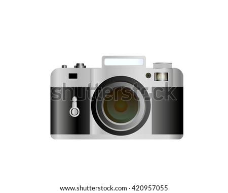 stylish realistic camera Soviet-style - stock vector