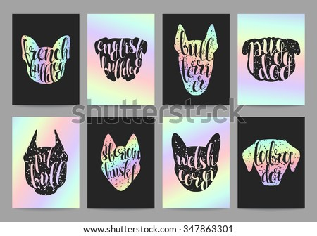 Stylish retro hipster set templates with dog breeds, calligraphy and hologram. Trend color. Calligraphic words on minds of dogs silhouette popular breeds. Set trendy ready-made templates, calligraphy - stock vector
