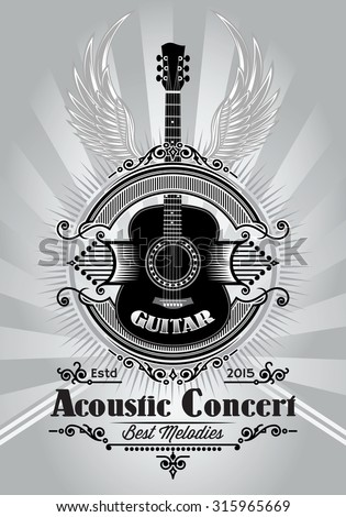 stylish retro poster with a guitar for the concert billboard - stock vector