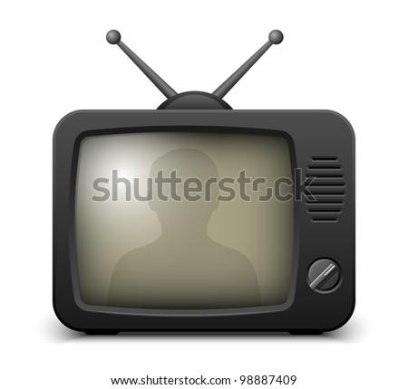Stylish retro TV set icon. Vector illustration - stock vector
