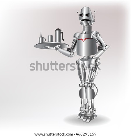 stylish robot future waiter vector