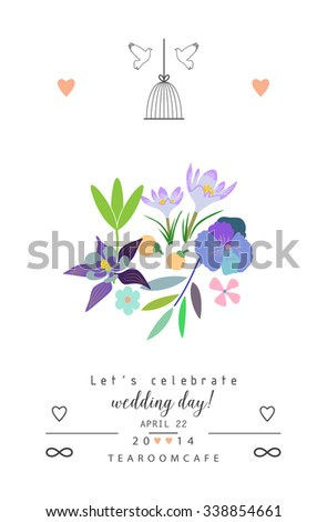 Stylish romantic invitation with flowers. Wedding, marriage, bridal, birthday, Valentine's day. Isolated. Vector - stock vector
