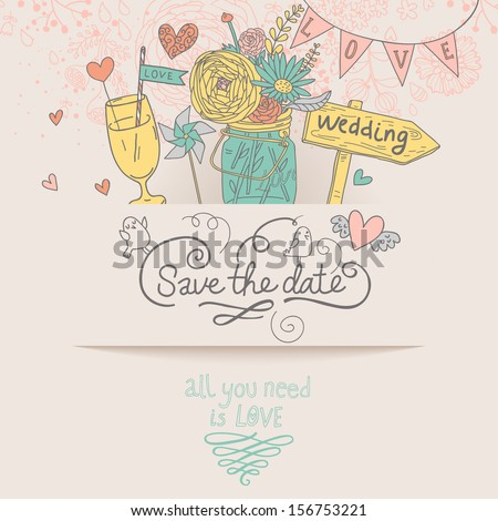 Stylish Save the Date card in vector. Cute wedding invitation with ranunculus bouquet, wedding tablet and tasty cocktail in vintage style, but popular modern colors - stock vector