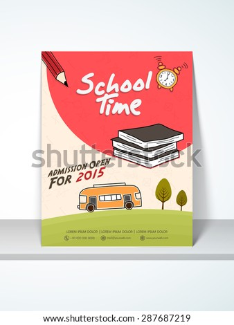 Stylish Back School Template Banner Flyer Stock Vector