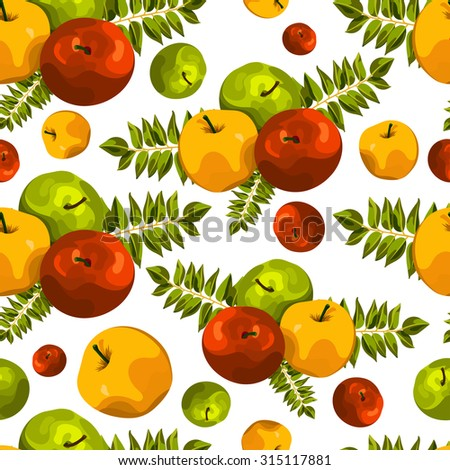 Stylish seamless pattern of leaves and apples. Beautiful background for greeting cards, invitations, textiles, fabrics, wallpaper. Seamless vintage pattern of fruit. Autumn, apple, pattern, harvest. - stock vector