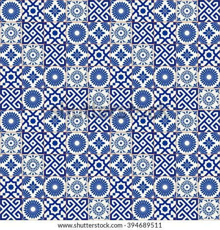 Stylish seamless pattern patchwork mix of five Moroccan tiles in trendy shades of blue. - stock vector