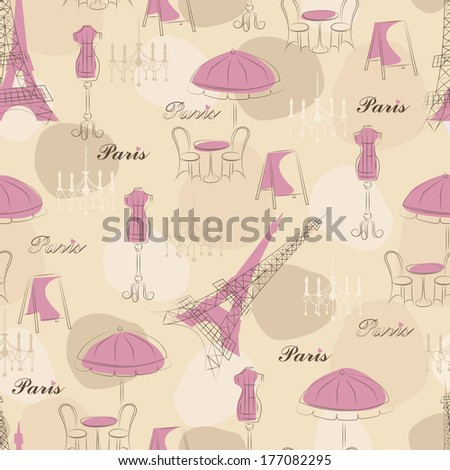 Stylish seamless pattern with eiffel tower , cafe and mannequin - stock vector