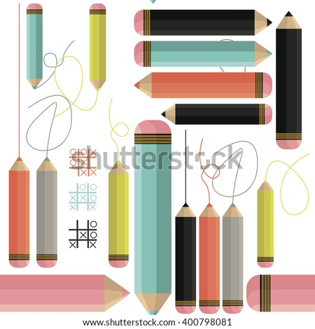 Stylish seamless pattern with many colored pencils can be used for textiles, interior design,covers, book design and more creative ideas. - stock vector