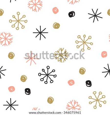 Stylish seamless snowflake pattern. Vector background with hand drawn snowflakes and spots in pastel colors