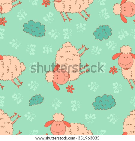 Stylish seamless texture with doodled cartoon sheep in pink and blue colors in vector. - stock vector