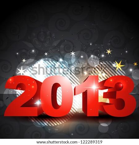 stylish shiny 2013 happy new year design - stock vector