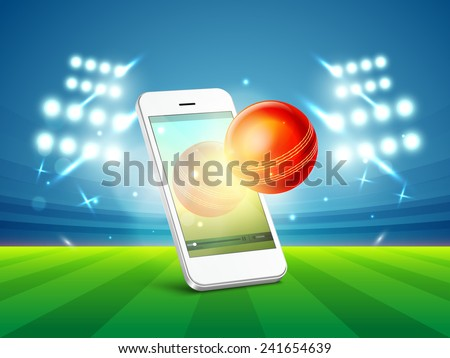 Stylish smartphone video screen showing red cricket ball in stadium light. - stock vector