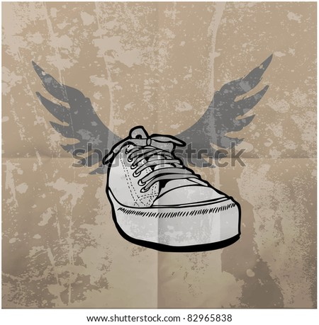Stylish Sneakers. On grunge background - stock vector