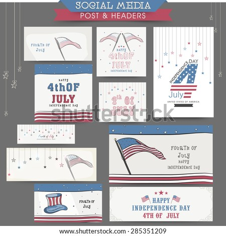 Stylish social media post, headers, banners or ads for 4th of July, American Independence Day celebration. - stock vector
