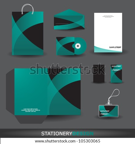 Stylish stationery design set in vector format - stock vector