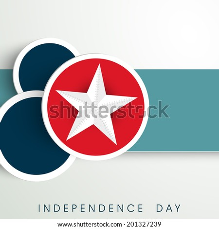 Stylish sticker, tag or label with silver star on grey and green background for 4th of July, American Independence Day celebrations.  - stock vector
