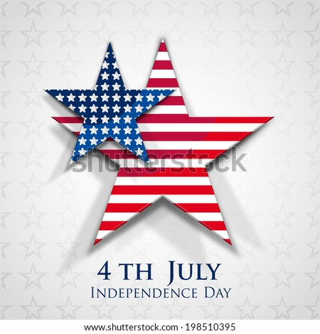 Stylish sticky in star shapes on stars decorated grey background for 4th of July, American Independence Day celebrations.  - stock vector