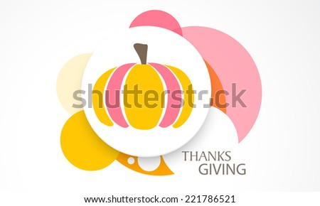 Stylish sticky, tag or label design with colorful pumpkin on colorful abstract background for Thanksgiving Day celebrations.  - stock vector