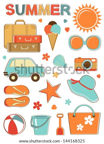Stylish summer icons set. vector format - stock vector