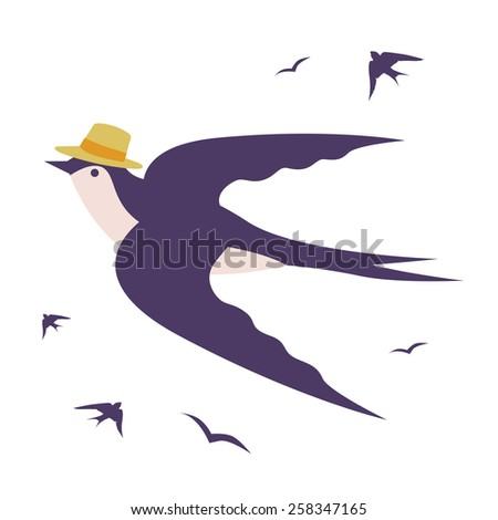 Stylish swallow  bird illustration