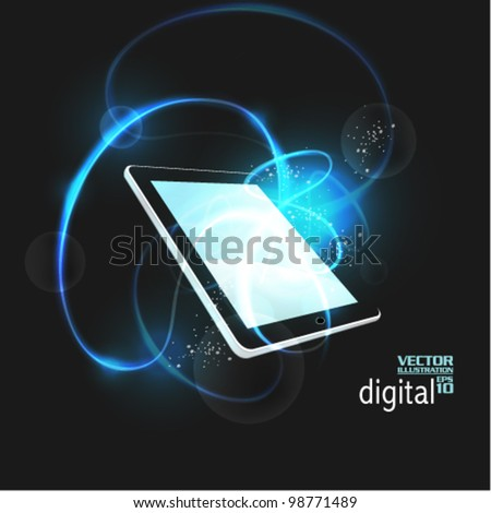 stylish tablet with digital flare design - stock vector