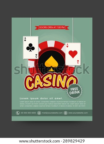 Stylish template, banner or flyer design with playing cards and chip for casino.