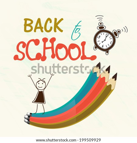 Stylish text Back to School with colorful pencils, watch and cute doodle of a happy girl on beige background.  - stock vector