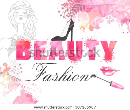 Stylish text Beauty Fashion with illustration of young modern girl on color splash background, can be used as poster, banner or flyer design. - stock vector