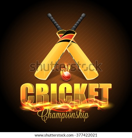 Stylish text Cricket in fire with glossy Bats and Ball on shiny brown background. - stock vector