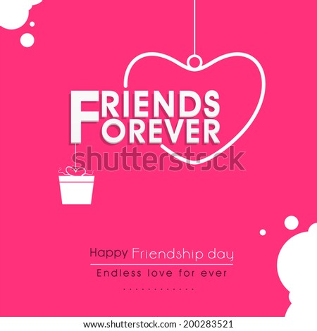 Stylish text Friends Forever with hanging heart and gift box on pink background for Happy Friendship Day celebrations.  - stock vector