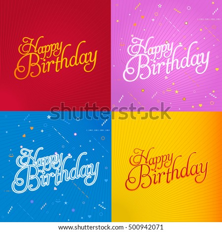Stylish text happy birthday message greeting stock photo photo stylish text happy birthday message greeting card vector design set bookmarktalkfo Image collections