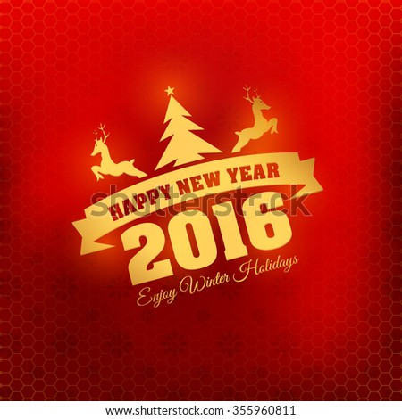 Stylish Text Happy New Year 2016 Badge, Red Colors Blurred Background, Web Banner, Greeting Cards Template - stock vector