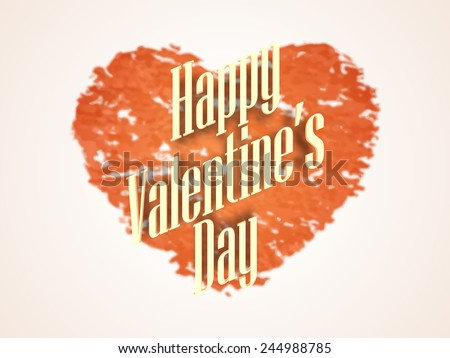 Stylish text Happy Valentines Day on grungy heart shape background, can be used as poster or banner design. - stock vector