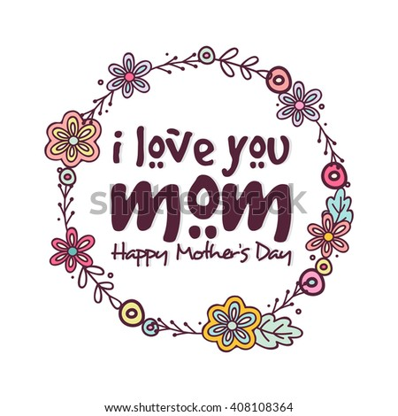 Stylish Text Love You Mom Flowers Stock Vector 408108364 - Shutterstock