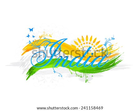 Stylish text India with national flag color waves, floral design and butterflies for Indian Republic Day celebration. - stock vector
