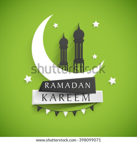 Stylish text Ramadan Kareem on paper tags with glossy crescent moon and mosque on stars decorated shiny green background for Islamic Holy Month celebration. - stock vector