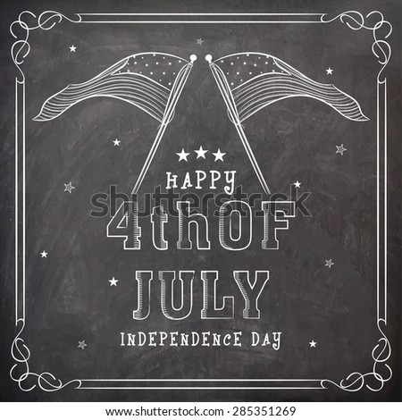 Stylish text 4th of July and national flag created by white chalk on blackboard background for American Independence Day celebration. - stock vector