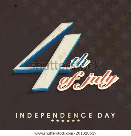Stylish text 4th of July on grey background for 4th of July, American Independence Day celebrations.  - stock vector