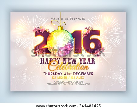 Stylish text 2016 with colorful Xmas Ball on fireworks decorated background, Elegant Flyer or Banner design for Happy New Year celebration. - stock vector