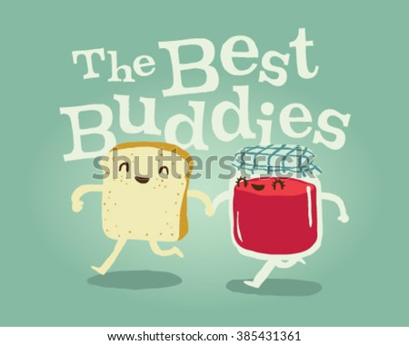 Stylish The Best Buddies Bread and jar of Jam - stock vector