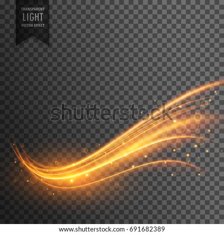 stylish transparent light effect in wavy shape with trail and sparkle