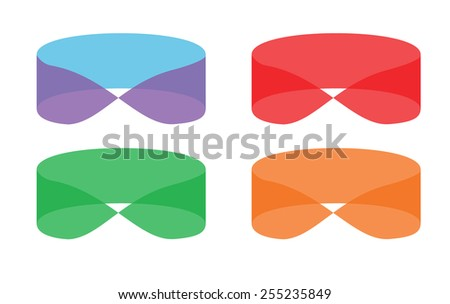 Stylish transparent logo.Bright and colorful.Mobius loop. Red, green, orange and purple one. Vector - stock vector
