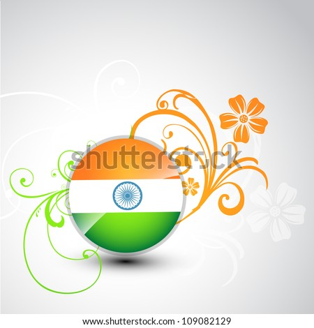 stylish tri color indian vector background - stock vector