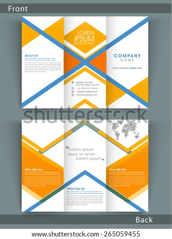 Stylish Tri Fold business flyer, template or brochure design with both page presentation for your corporate need. - stock vector