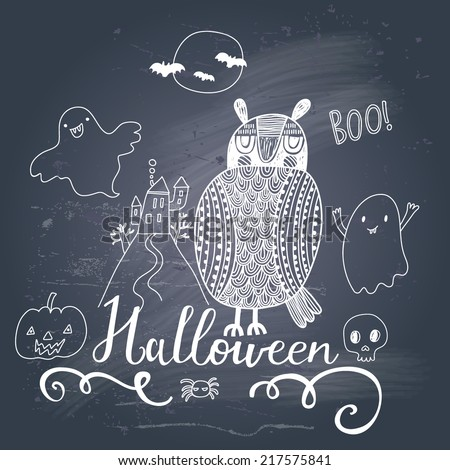 Stylish trick or treat card in vector. Stylish halloween background in cartoon style with cute owl and ghosts - stock vector