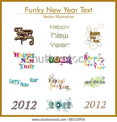 Stylish typographic set of text 2012 & happy new year - stock vector